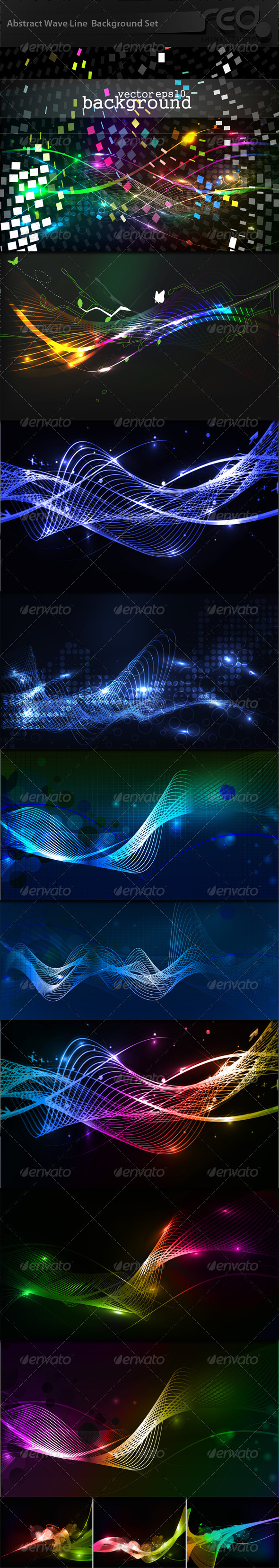 Abstract Glowing Wave Line Collection - Abstract Conceptual