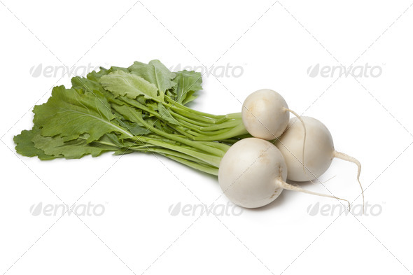 Fresh white round Daikon radish - Stock Photo - Images