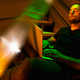 Cinematic portrait of handsome young man in neon lighted room, stylish male model indoors - PhotoDune Item for Sale