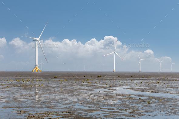 renewable energy landscape of wind farm - Stock Photo - Images