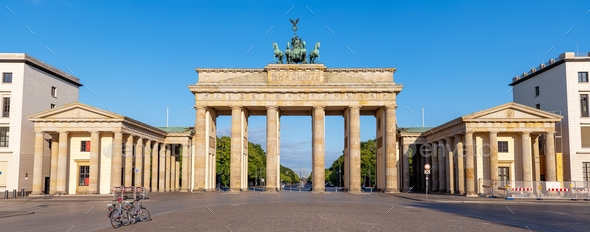 Panorama of the Brandenburg Gate in Berlin - Stock Photo - Images