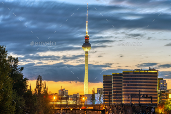The iconic Television Tower of Berlin - Stock Photo - Images