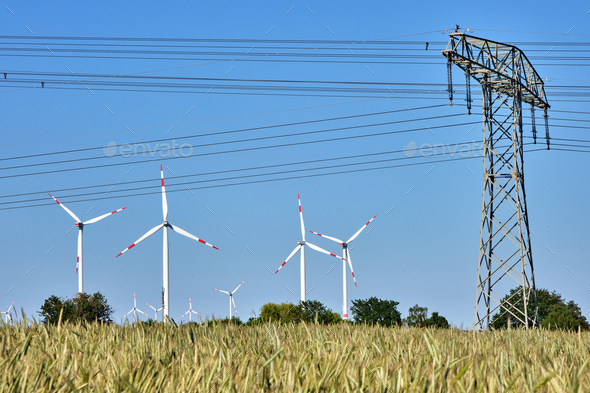 Power lines and wind turbines - Stock Photo - Images