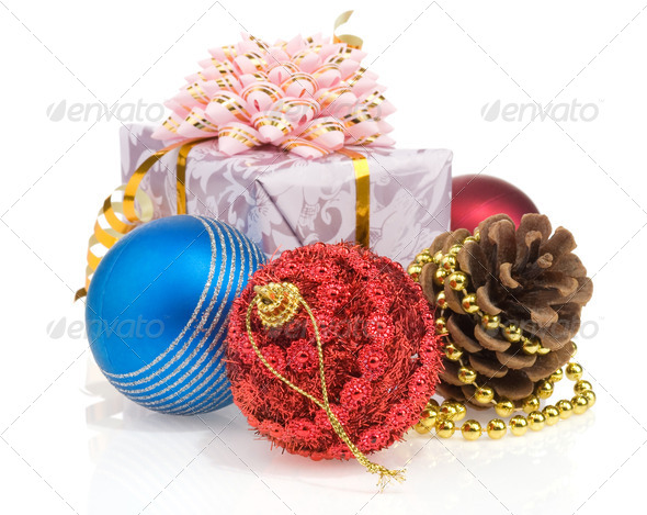 christmas gift box with balls isolated on white - Stock Photo - Images