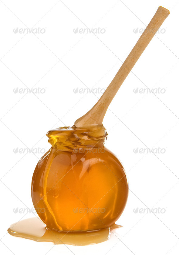 jar of honey isolated on white - Stock Photo - Images
