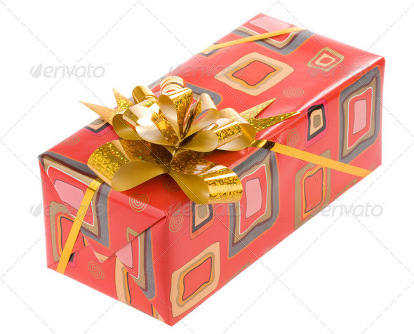 gift box with gold ribbon on white - Stock Photo - Images