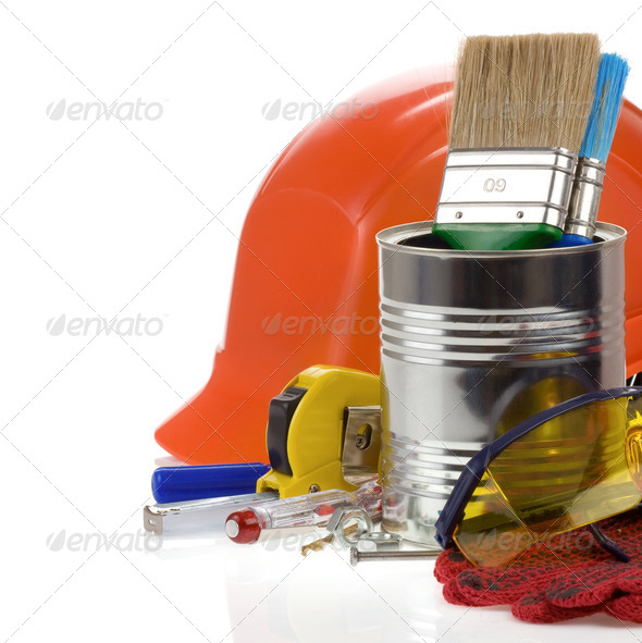 set of tools and box isolated on white - Stock Photo - Images