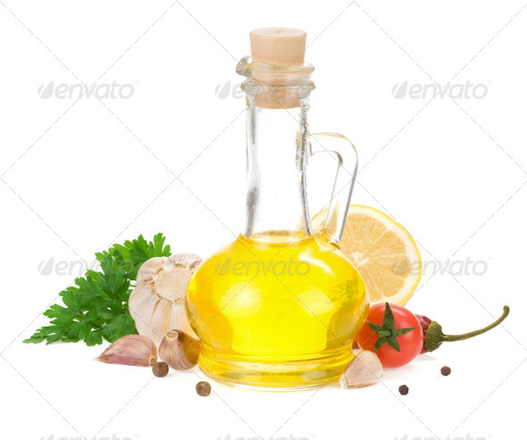 food ingredients, spice and oil isolated on white - Stock Photo - Images