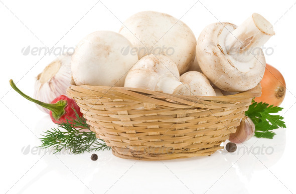 mushrooms and food ingredient isolated on whit - Stock Photo - Images