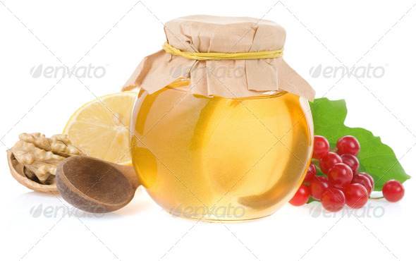 honey and fruit isolated on white - Stock Photo - Images