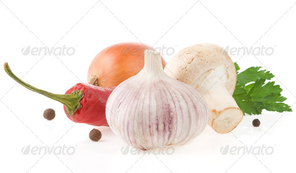 food ingredients and spices isolated on white - Stock Photo - Images
