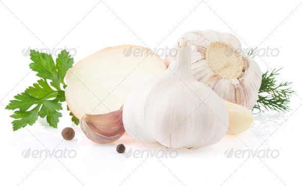 garlics and onion spices isolated on white - Stock Photo - Images