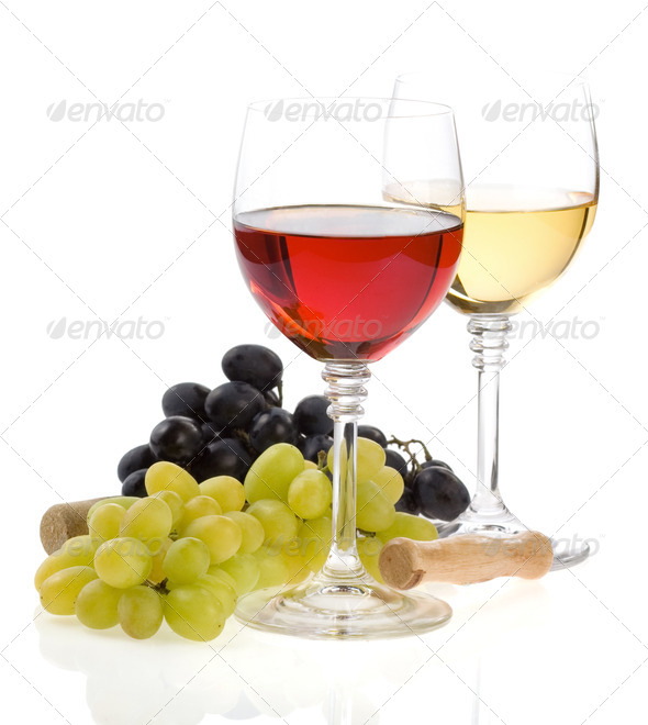 wine in glass and grape fruit isolated on white - Stock Photo - Images