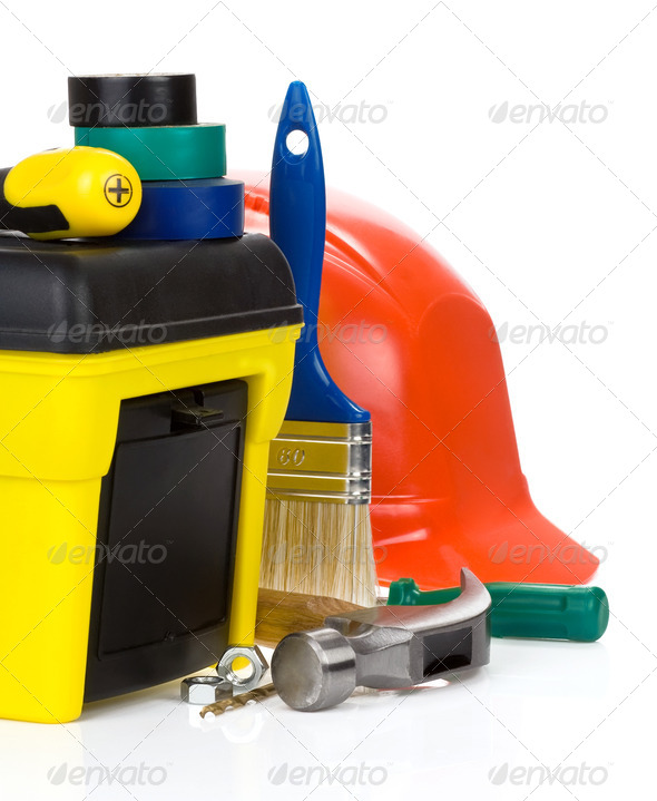 tools and toolbox isolated on white - Stock Photo - Images