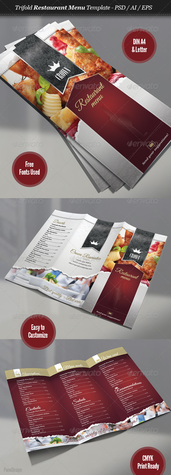 Trifold Restaurant Menu Template - Food Menus Print Templates