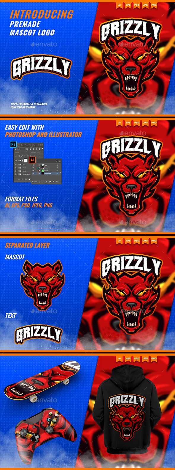 Mad Grizzly Bears Roar - Mascot Esport Logo Template