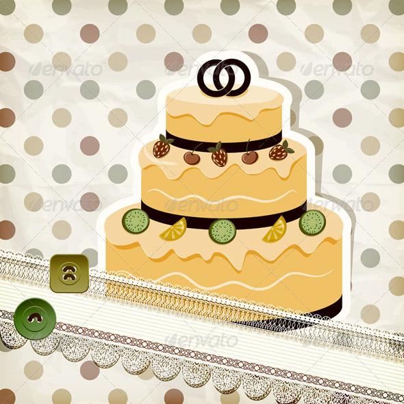Wedding Cake on Retro Scrapbook - Weddings Seasons/Holidays