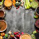 Organic Food. Frame of fresh vegetables and legumes. On rustic background. - PhotoDune Item for Sale
