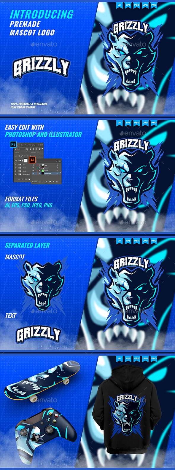 Grizzly Bears Roar - Mascot Esport Logo Template