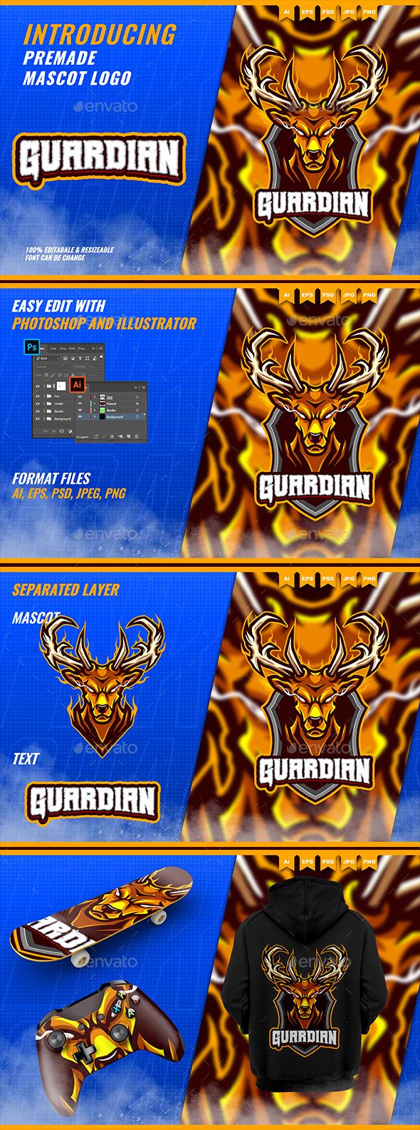 Golden Deer Horn - Mascot Esport Logo Template