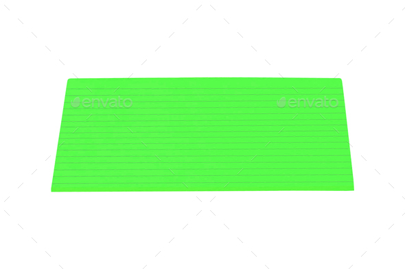 green sticky note isolated on white - Stock Photo - Images