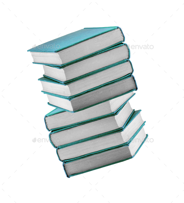 Books in blue cover isolated - Stock Photo - Images