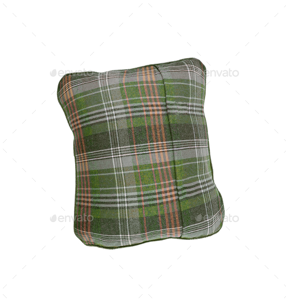 plaid pillow isolated on white - Stock Photo - Images