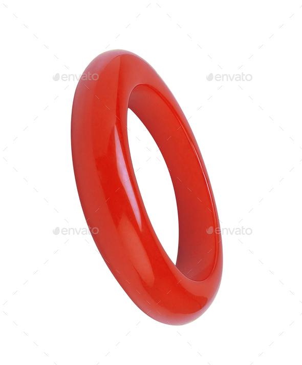 red bracelet isolated on white - Stock Photo - Images