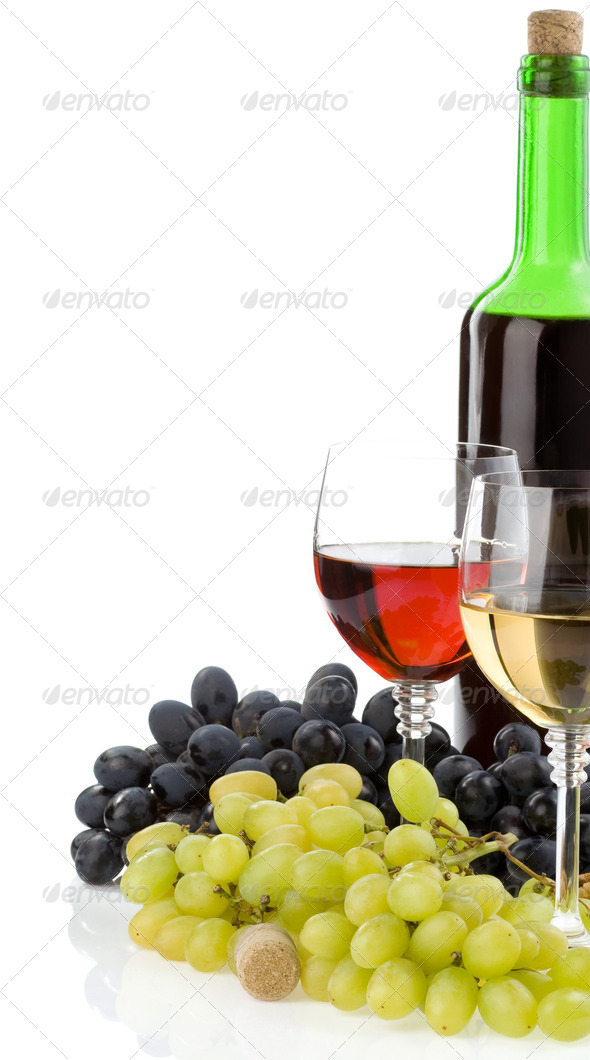 wine in glass and bottle with grape - Stock Photo - Images