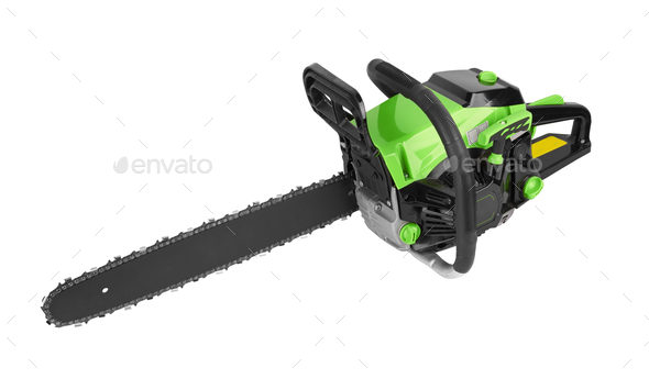 Chainsaw isolated on a white background - Stock Photo - Images