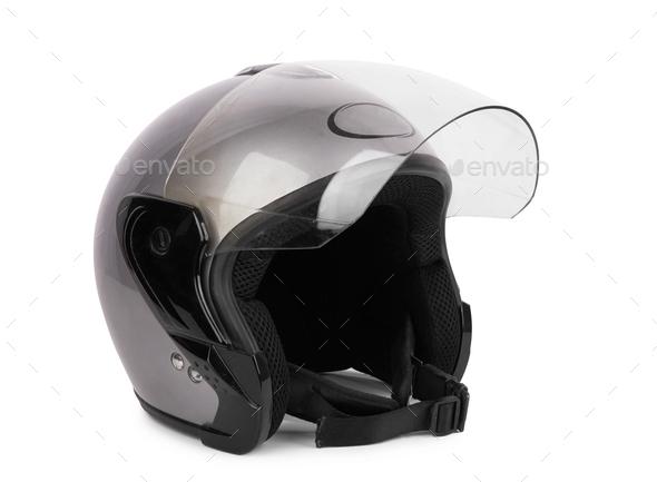 Gray motorcycle helmet - Stock Photo - Images