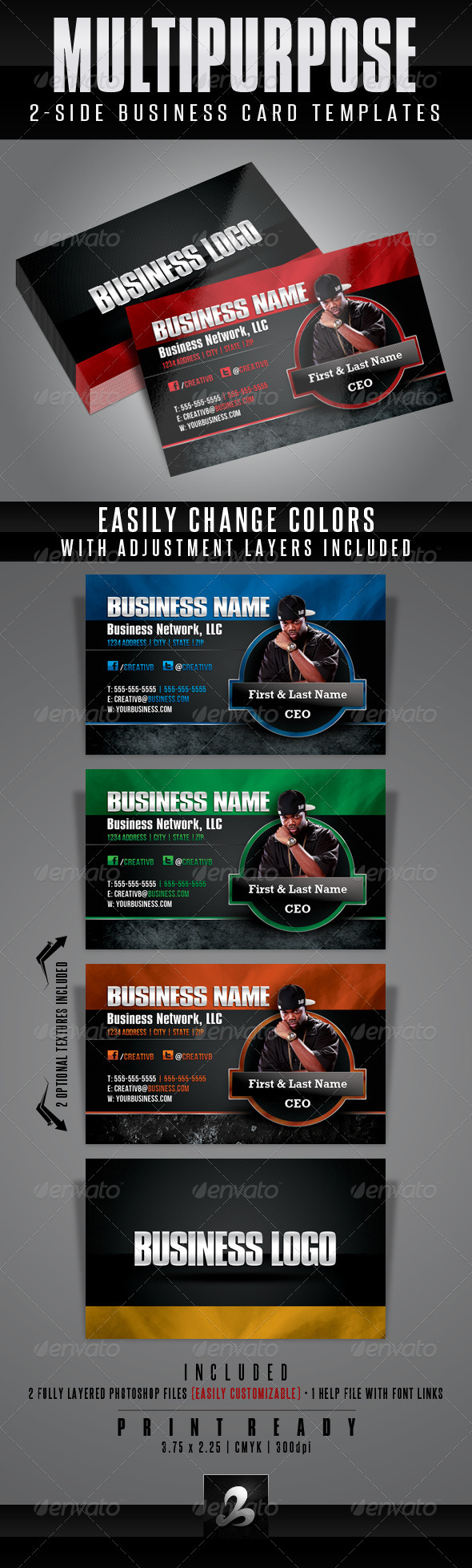 Multipurpose Business Card Templates 1 - Corporate Business Cards