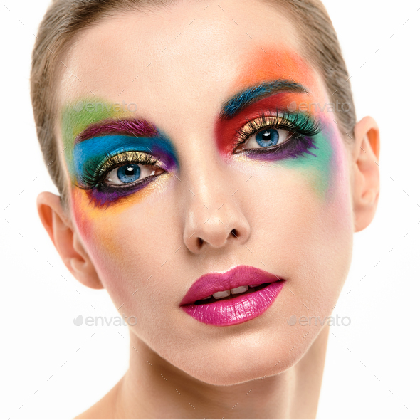 Beauty Fashion woman, Colorful Bright Art Makeup - Stock Photo - Images