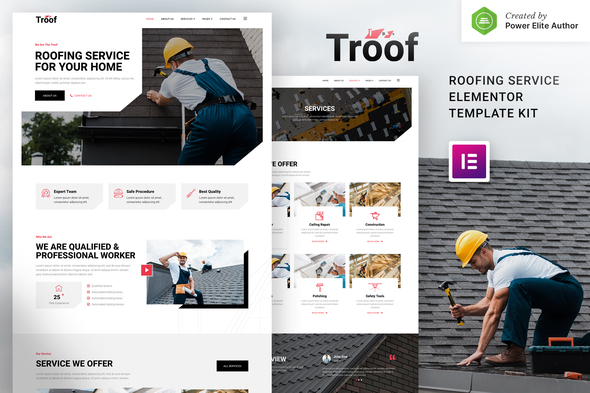 Troof – Roofing Service Elementor Template Kit