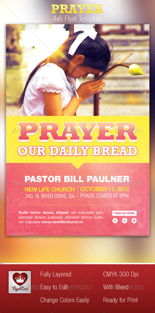 Prayer Church Flyer Template By Royallove  Graphicriver