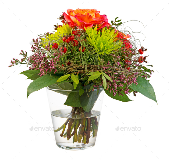 Isolated flower arrangement in a glass vase - Stock Photo - Images