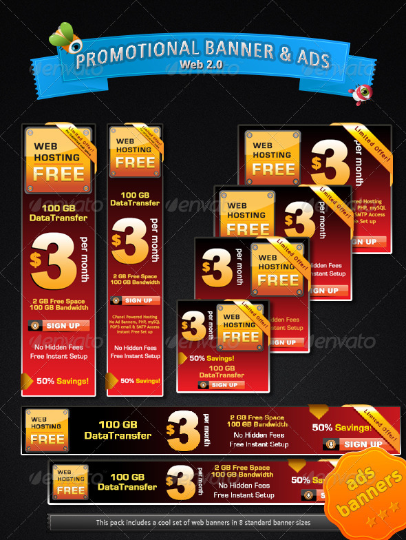 Web 2.0 Promotional Banner & Ads  - Banners & Ads Web Elements