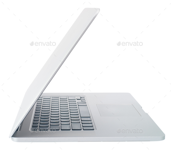 Open laptop on white background, side view isolate - Stock Photo - Images