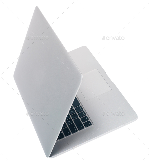 Open laptop on white background top view side view isolate - Stock Photo - Images