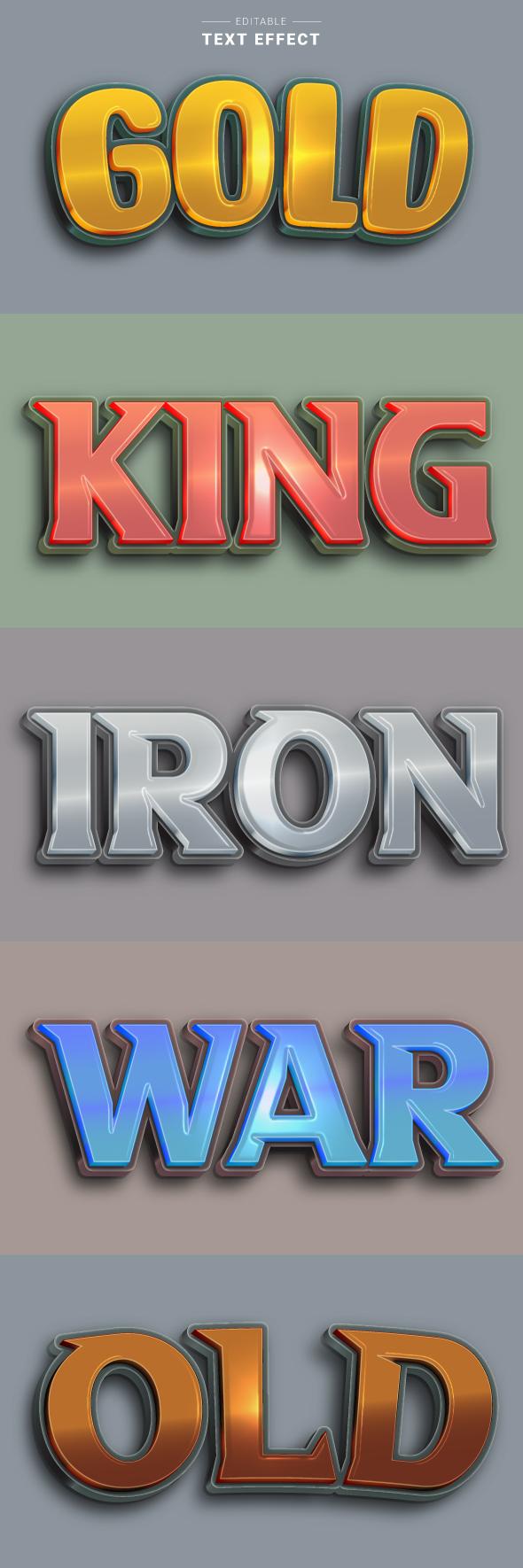 Modern 3D Metallic Text Effects