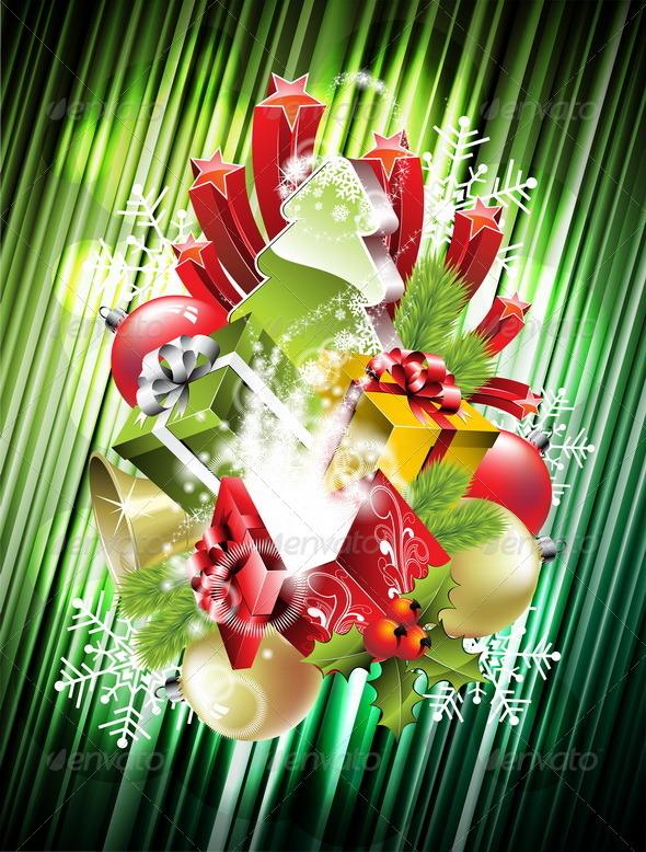 Christmas illustration with magic gift boxes. - Christmas Seasons/Holidays