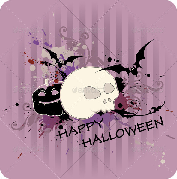 Halloween Background with Pumpkin and Skull - Halloween Seasons/Holidays