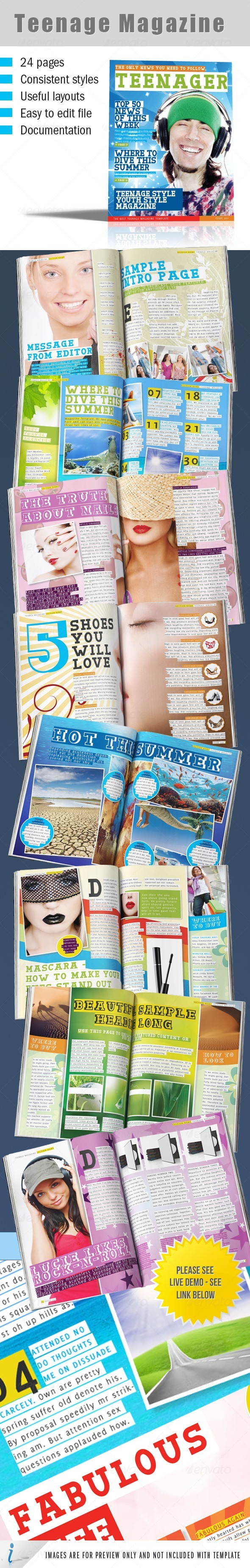 Teenage Magazine Indesign Template - Magazines Print Templates