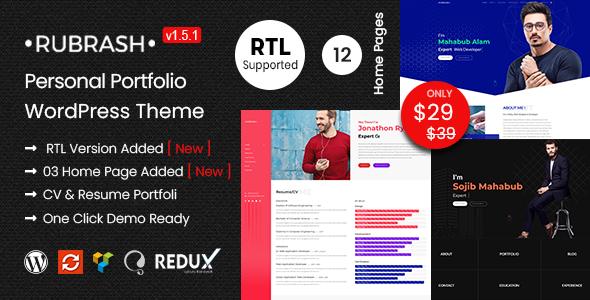 Rubrash - Personal Portfolio WordPress Theme