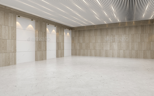 Empty auditorium room interior with screen 3D rendering - Stock Photo - Images