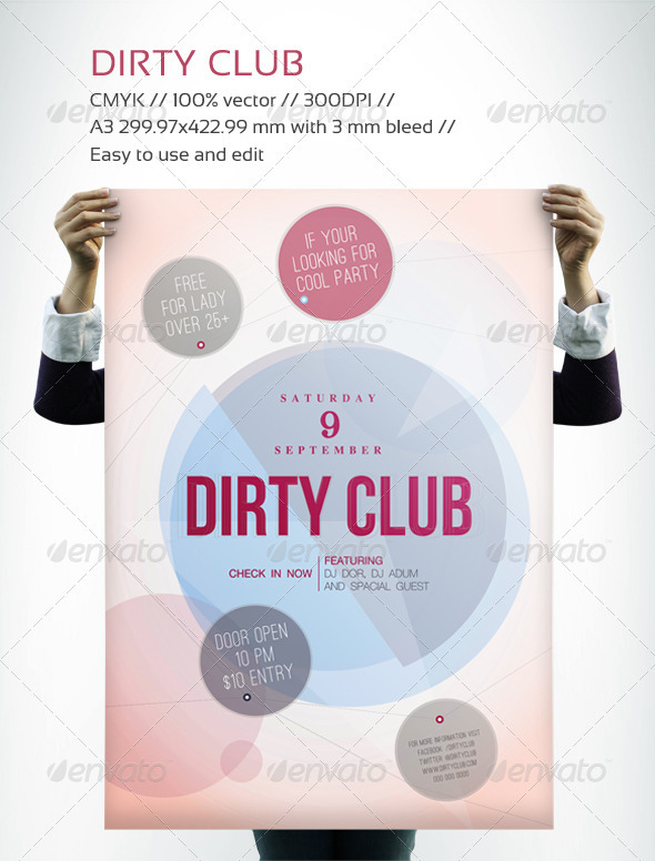 Dirty Club Flyer - Clubs & Parties Events