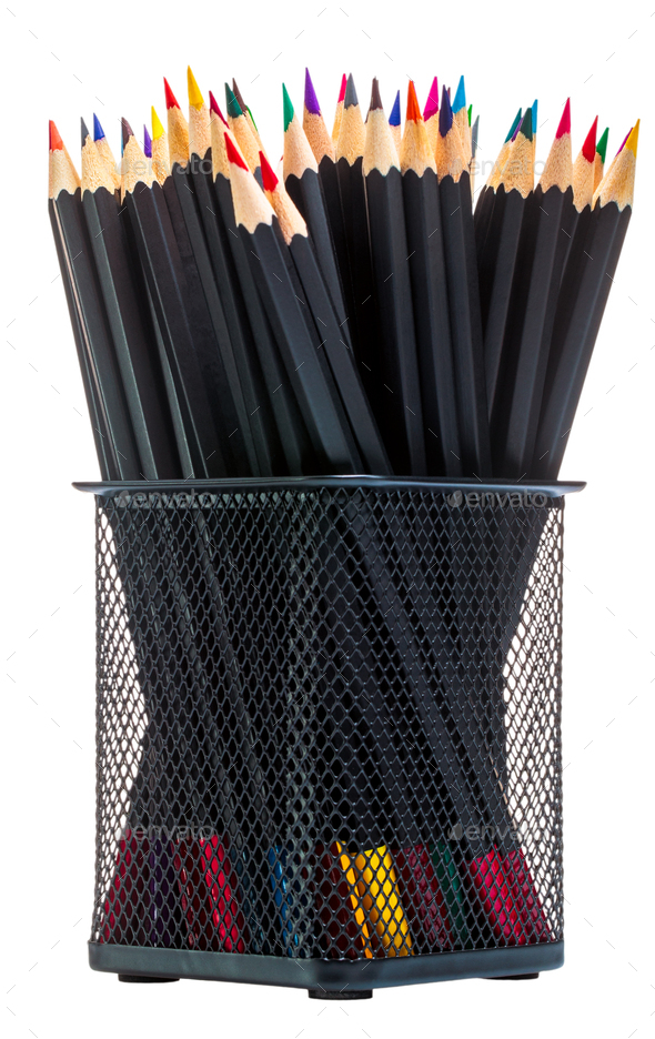 Colored pencils in office rack on white background isolate - Stock Photo - Images