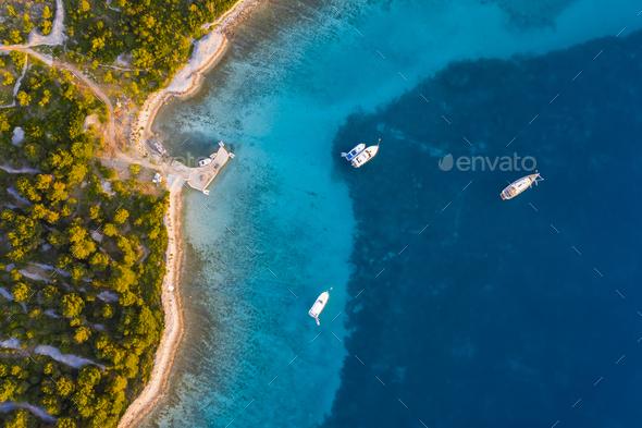 Aerial view of Kornati island archipelago at sunrise. Kornati National Park, Croatia - Stock Photo - Images