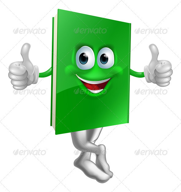 Cute thumbs up green book character - Characters Vectors