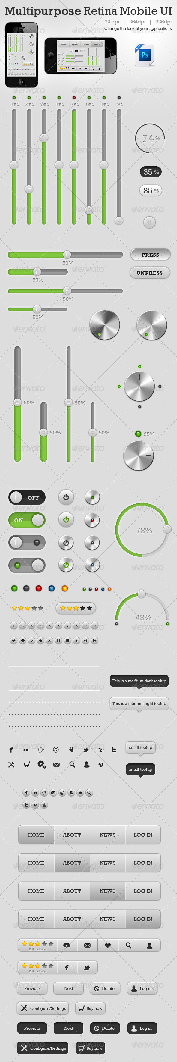 Multipurpose Retina Mobile UI - User Interfaces Web Elements